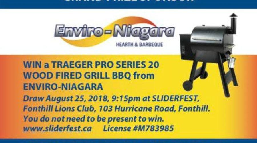 WIN a Traeger Wood Fired Grill BBQ at SLIDERFEST courtesy of Enviro-Niagara Hearth and Barbeque